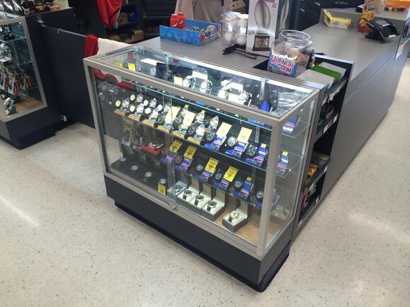 In store glass case Cash Wraps
