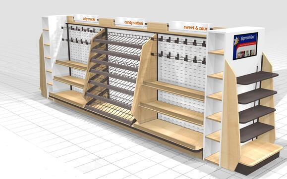 EXPRESS MART CANDY AND SNACK FIXTURE CONCEPTS Point of Purchase design