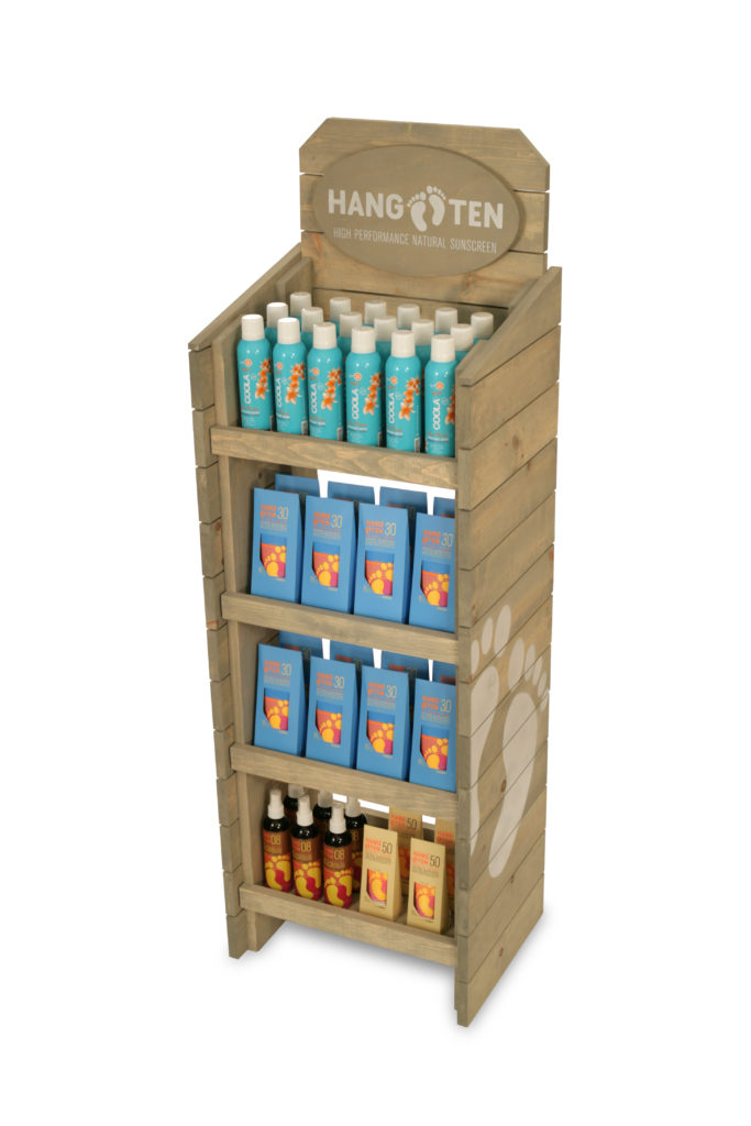 Hang Ten Suncreen wood shelf display
