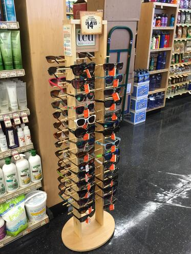 ICU Wood Sunglass Retail POP Display