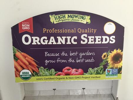 oRGANIC SEEDS Point-of-purchase signs