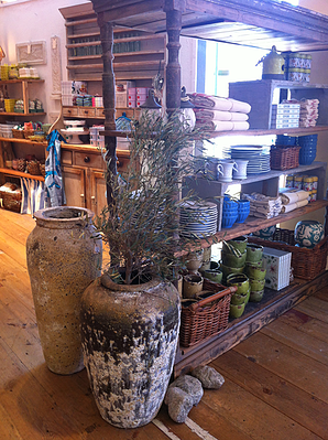 vintage looking pottery and water pots in Anthropologie