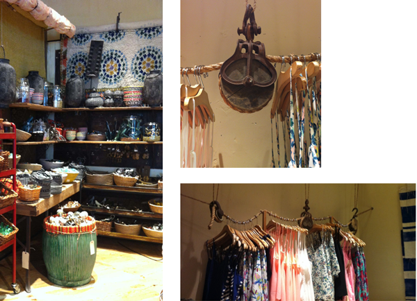 hanging old rope and alley system to display clothes at Anthropologie