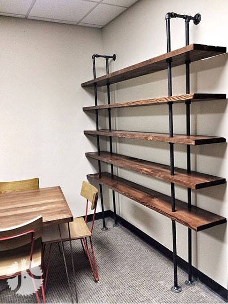 Industrial Shelving from Reclaimed Wood Black Steel Pipe point of purchase design