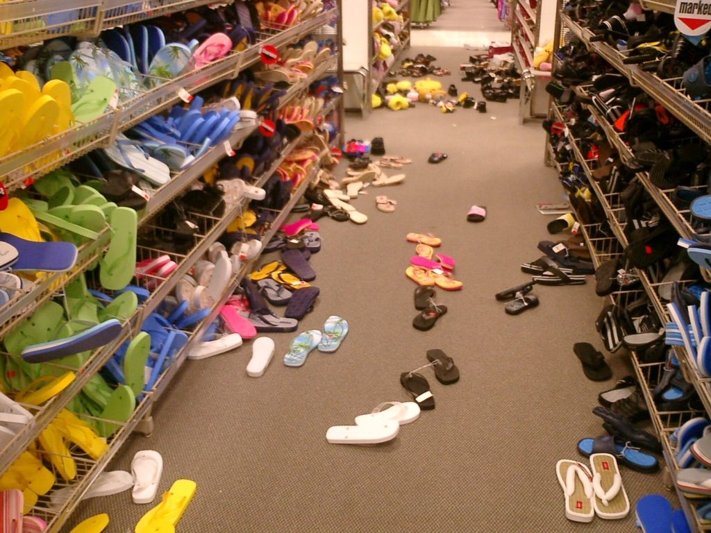 messy shoe aisle point of purchase displays