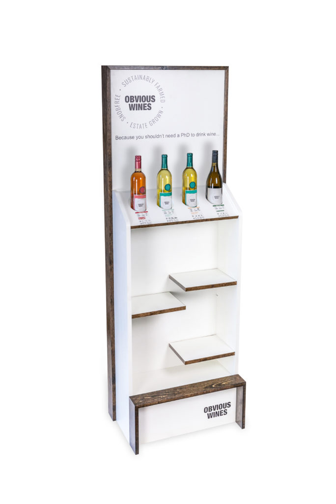 Obvious Wines retail wood displays