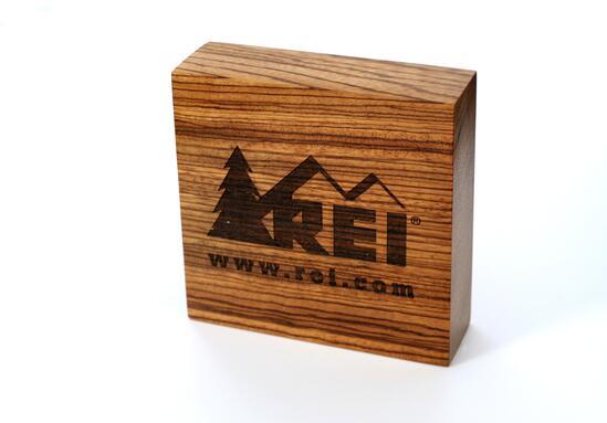 REI Wood Burned Logo Block