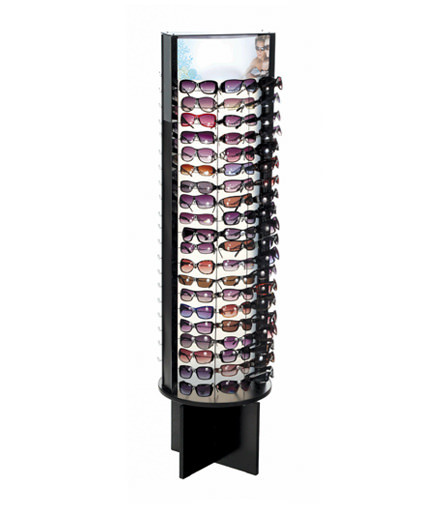 spinngin floor sunglass display with graphic