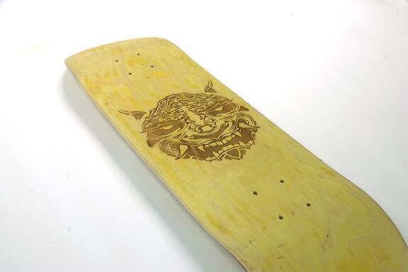 laser burned Skateboard custom deck