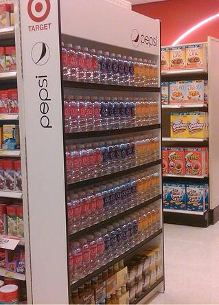 Pepsi retail display end-cap for target stores