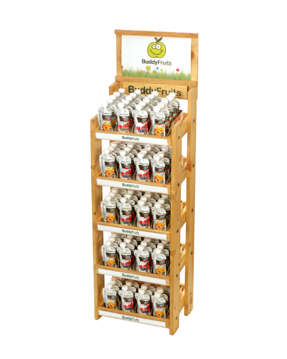 BUDDY FRUITS WOOD FLOOR RETAIL DISPLAY SUSTAINABLE PINE WOOD
