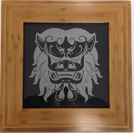 bamboo fram etched acrylic art