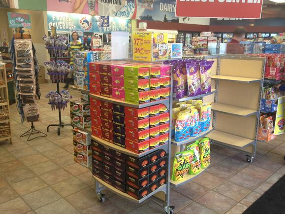 Pinwheel store fixture - wood and metal - point of purchase design