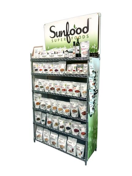 sunfood natural foods retail point of purchase display